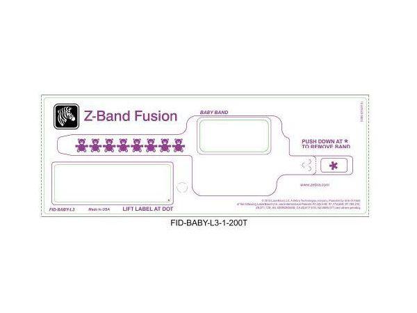 Caja de 5 Rollos de Brazaletes Zebra (talla bebé) Z-Band Fusion (con borde rojo)
