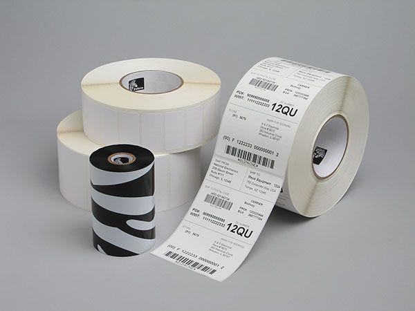 Rollo de etiquetas adhesivas Zebra 76mm x 25mm PolyE 3100T Gloss